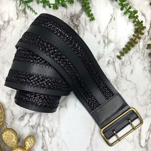 Tommy Bahama black leather braided wide belt small